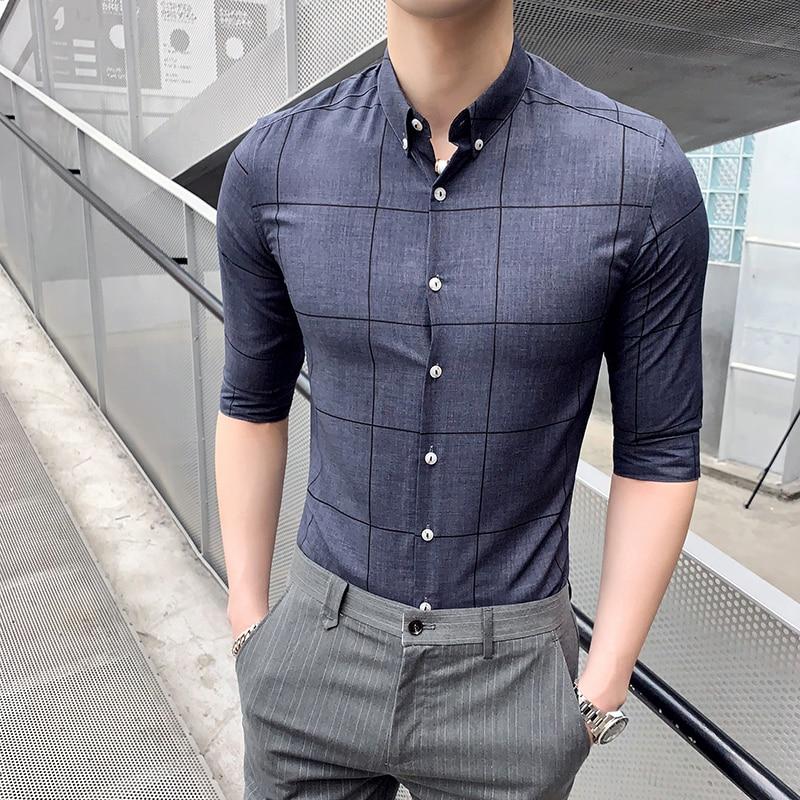 High Quality Men Shirt Summer Business Gentlemen Shirts Mens Half Sleeve Slim Fit Plaid Mens Casual Shirts Formal Wear 3XL M Hot