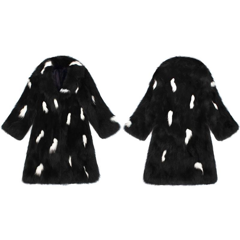 Occasionnel Furry Outwear Haute De Casual Fourrure Long Couleur Hiver Blanc Type Noir Femmes Mode Qualité Manteau Faux wafFxHOxq
