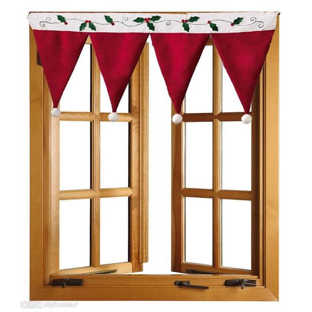 door window drape panel christmas curtain decorative home little red flag curtain bedroom living room decorated