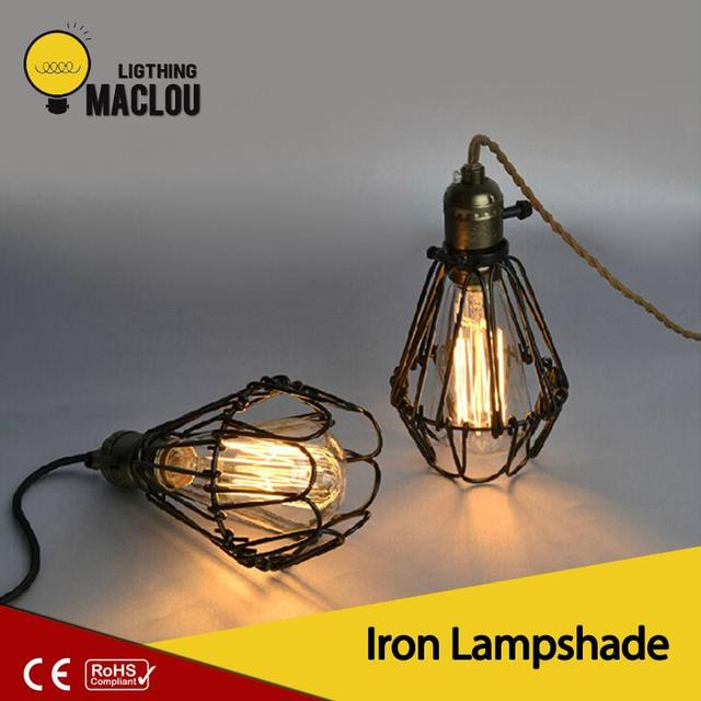 Maclou Black Mini Metal Iron Lampshade Warehouse Style Antique Loft Covers Guard Wire Cage Pendant