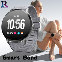 RollsTimi Casual Gray fabric Smart Band V11 Blood Pressure Heart Rate Monitor New Sports Wristwatch Women Smart Watch Waterproof