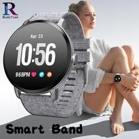 RollsTimi Casual Gray fabric Smart Band V11 Blood Pressure Heart Rate Monitor New Sports Wristwatch Women Smart Watch Waterproof