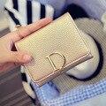 Дизайнер D Письмо Женщины Кошельки Роскошные Известная Марка Золото Кошельки для Женщин Небольшой Бумажник Короткие Кошельки billetera mujer BAOK-0b0e