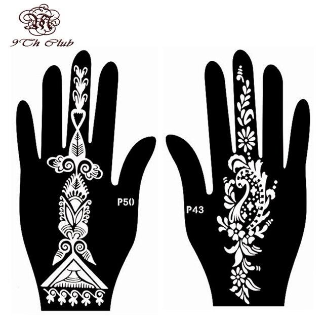 4pcs Easy Women Hand Henna Tattoo Stencil Reusable Stencil Mehndi