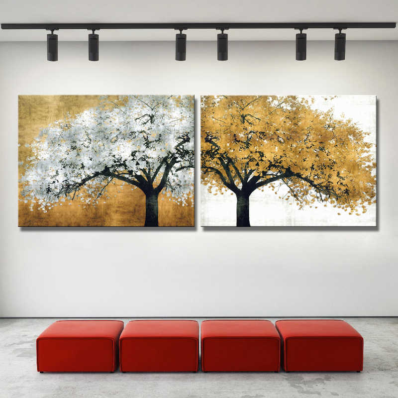 Modern Abstract Oil Painting on Canvas Art Wall Decorative Posters and Printed Golden Trees Pictures for Living Room Home Decor