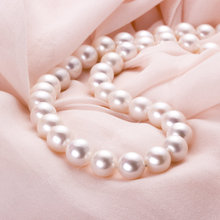 Women Gift word 925 Sterling silver real Super light white 11-12mm round Freshwater Pearl Necklace genuine treasure send he