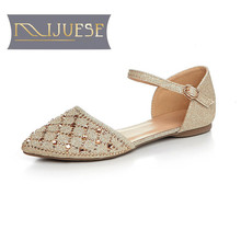 MLJUESE 2018 women sandals summer style cut-outs buckle strap crystal Gold color sandals women size 34-42