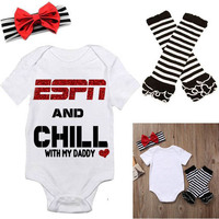 New Newborn Baby Girl Tops Romper +Leg Warmers Headband Outfit Clothes Set 1