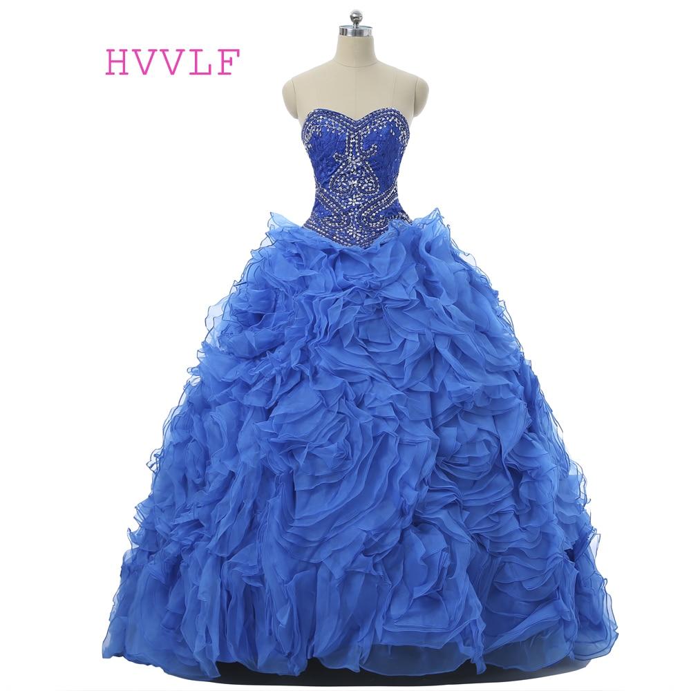 Royal Blue 2019 Cheap Quinceanera Dresses Ball Gown Sweetheart Organza Ruffles Crystals Detachable Skirt Sweet 16 Dresses