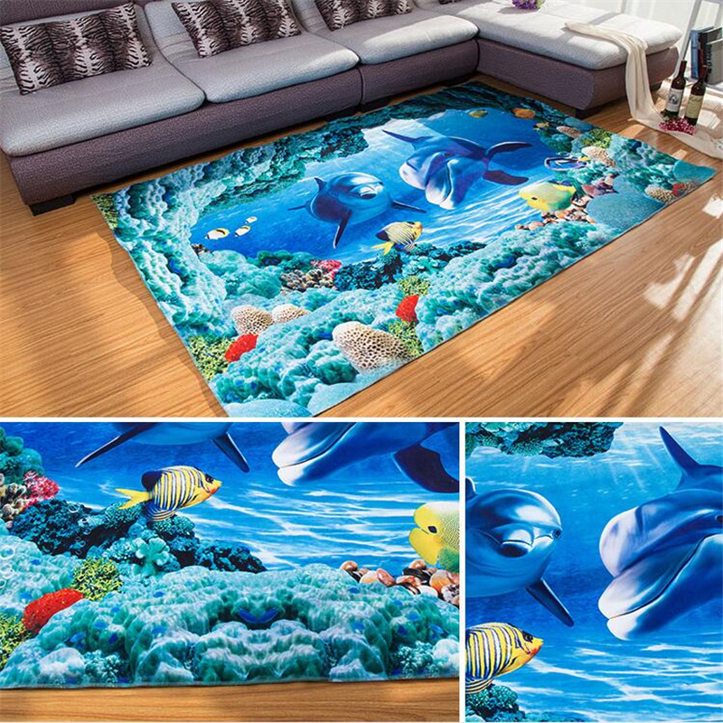 160cm230cm 3D Print Undersea World Area Carpet Big Size Polyester Living Room Rugs Tapete