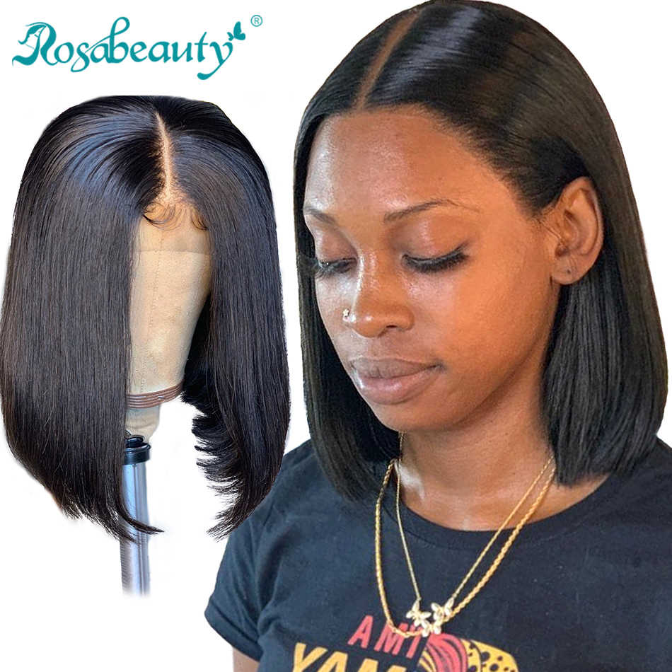 Brazilian Short Bob Virgin Wig Straight Lace Front Human Hair Wigs Rosabeauty 613 Blonde Lace Frontal Wig For Black Women