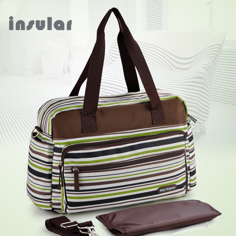 Gratis frakt Färgglada Strip Nappy Väskor Mode och Multifunktionella Baby Blöja Väskor Mommy Bags
