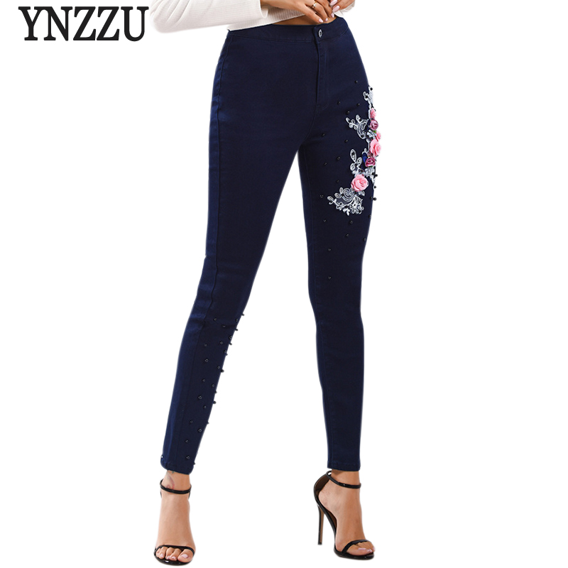 US $26.99 45% OFF|YNZZU Plus Size Flower Embroidery Jeans Female High Waist Jeans Pencil Pants 2019 Spring Stretch Women Bottom Jeans Femme YB263 in