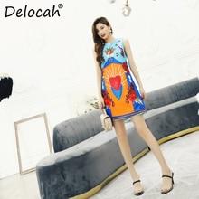 Delocah Spring Summer Women Dress Runway Fashion Designer Flare Sleeve Sleeveless Gorgeous Crystal Beading Elegant Printed