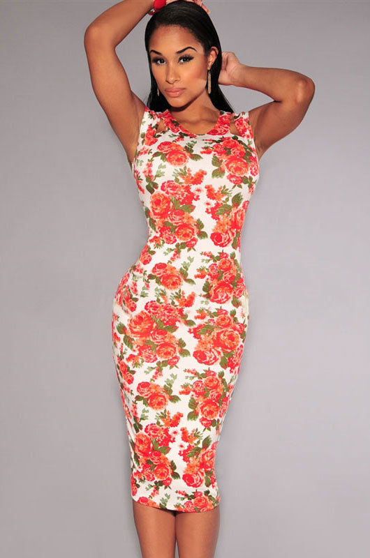 3cbfb643bff Ivory Coral Floral Cut Out Midi Dress Rose floral print Dress Sexy body  shaped dresses Summer women Dress-in Dresses from Women's Clothing on  Aliexpress.com ...
