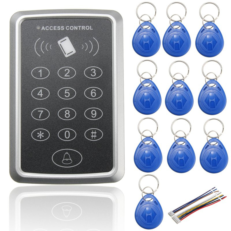 NEW 125KHz Door EM ID Card Access Control Keypad Weatherproof Design For Car Parking Security with 10 pieces RFID Key Fobs for home security wg26 34 em id card reader 125khz door access control system with keypad for rfid card waterproof f1710a