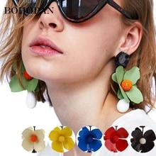 цены на Big Flower Earrings Black Stone Waterdrop Dangle Earrings For Women Statement Drop Earrings Girls Jewelry Party Gift oorbellen  в интернет-магазинах