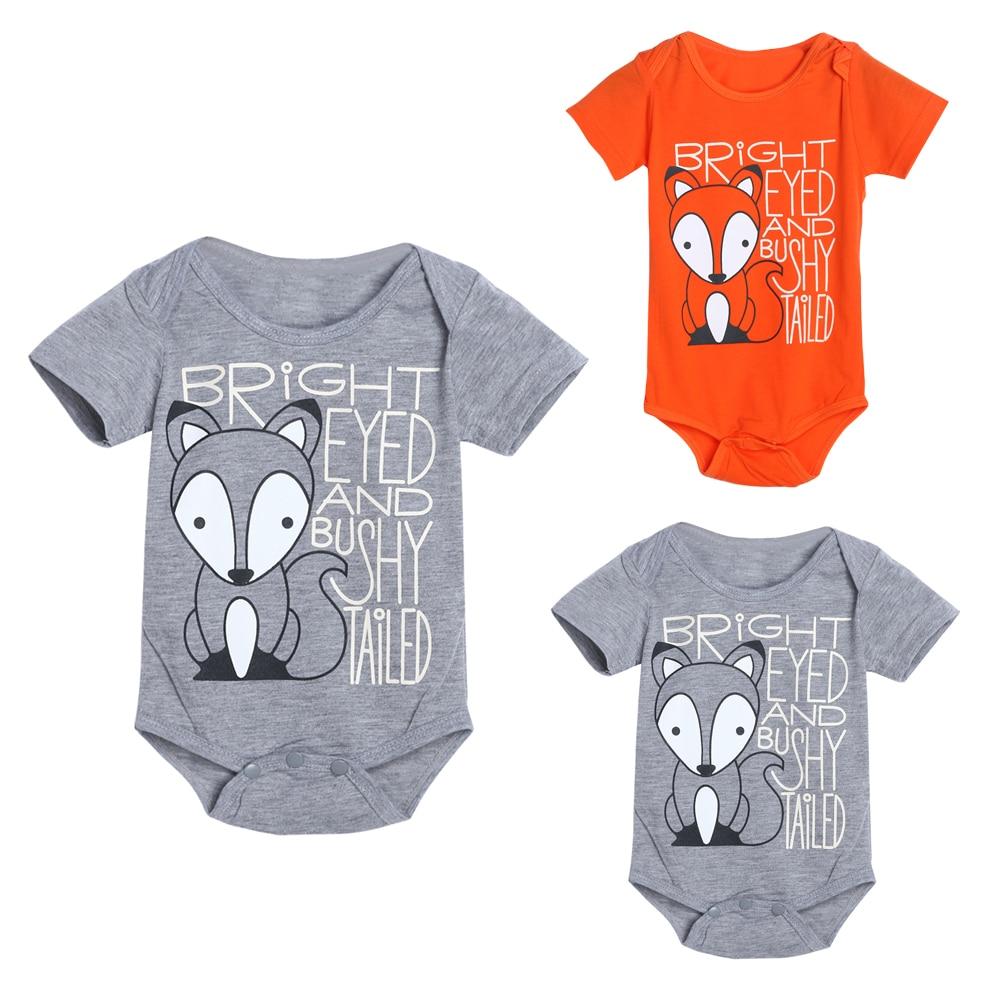 百思买 ) }}JOCESTYLE Toddlers Fox Print Bodysuit Summer Baby Infant Newborns Short Sleeve O-neck