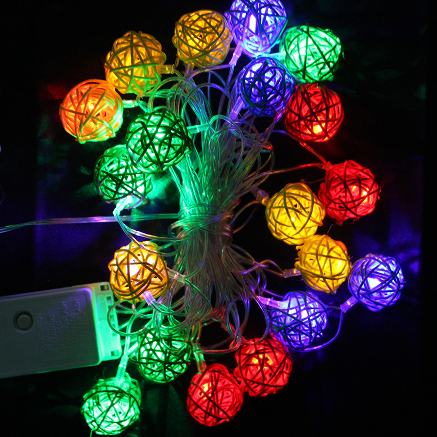 4m 20pcs sepak takraw ball led string garland lights halloween wedding holiday new year christmas decoration - Halloween Lights Thriller