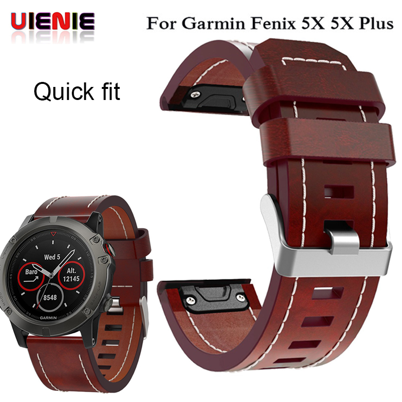 26MM Leather Wrist Watch Strap For Garmin Fenix 3/ Fenix 5X 5X Plus Smart Watch Band Wristband Easy Fit Quick Bracelet Belt