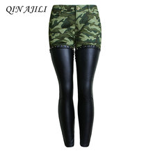 QIN AJILI PU Leather Patchwork Camouflage Cropped Ankle Jeans Women Low Waist Stretchy Denim Pants Skinny Pencil Woman