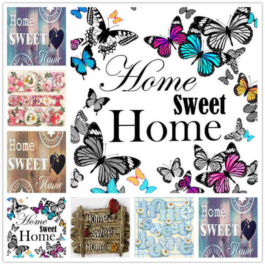 Popular diy 5d diamante bordado animal borboleta diamante mosaico casa doce texto pintura diamante macaco kits daimond-pintura
