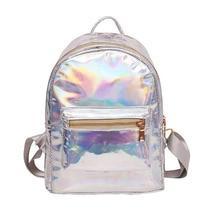 QOKR women hologram laser backpack female student PU rucksacks travel daypack silver school teenage girls mochila small backpack