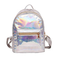 QOKR Women Hologram Laser Backpack Female Student PU Rucksacks Travel Daypack Silver School Teenage Girls Mochila