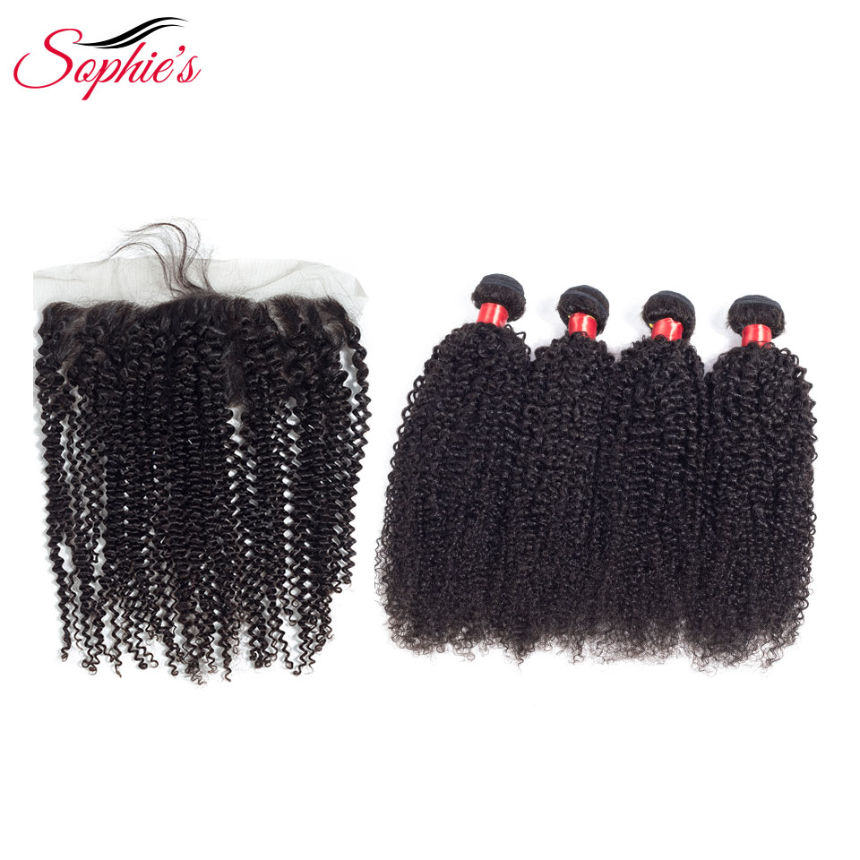 Sophies Human Hair Bundles With Frontal 4 Bundles With 13*4 Frontal Kinky Curly Natural Color Brazilian Non-Remy Hair Extension