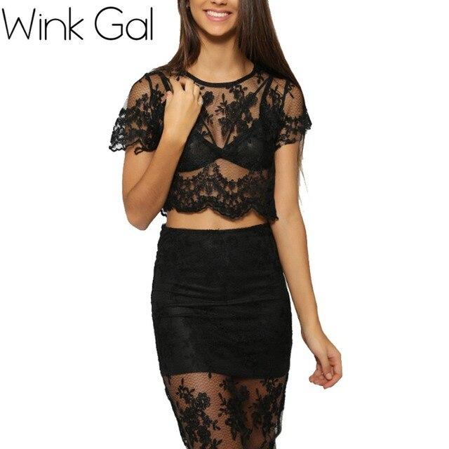 e5cd4702d42 Wink Gal 2015 Summer Sexy Black Lace See Through Top Pencil Skirt 2 Piece  Crop Top Set Women promotion 193