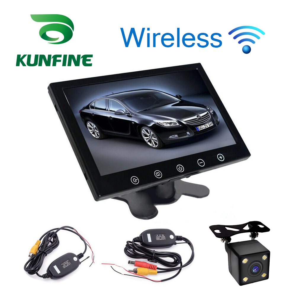 Car Styling 12-24V 9 Inch TFT LCD Touch Screen Car Headrest Display Monitor Rear View Display with Wifi Rearview Backup Camera haisunny 9 inch tft lcd car monitor 4 split screen headrest rearview monitor with rca connectors 6 mode display remote control