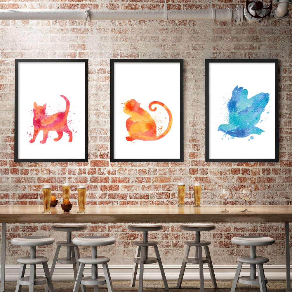 Modern Simple Watercolor Animals A4 Art Print Poster Funky Canvas Mural Room Children Living Home
