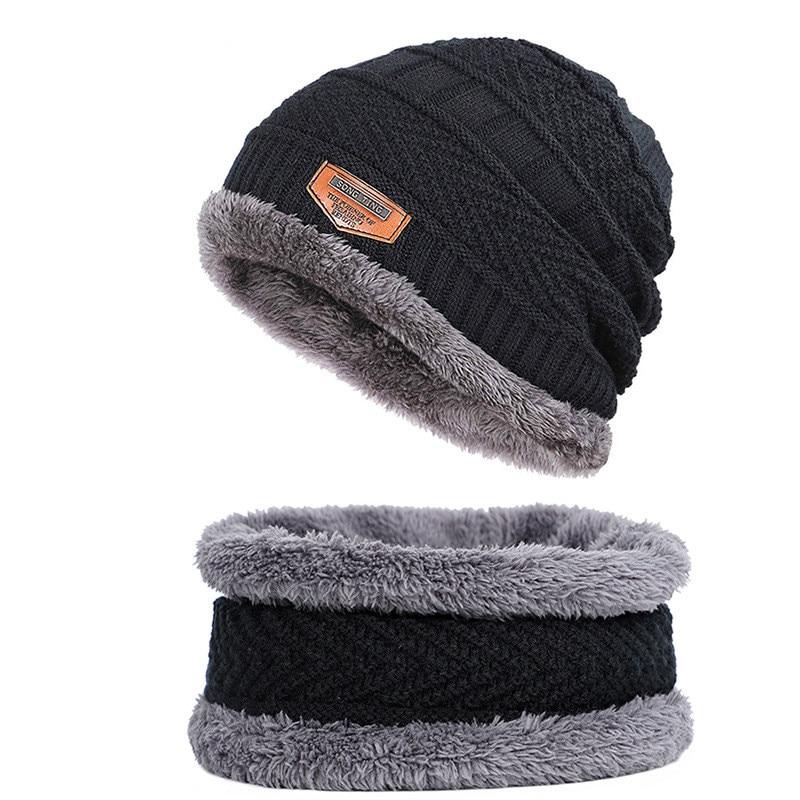 Adult Winter Wool Hat Men's Plus Velvet Hat Ladies Set Of Collar Two-piece Plush Hat Scarf Set