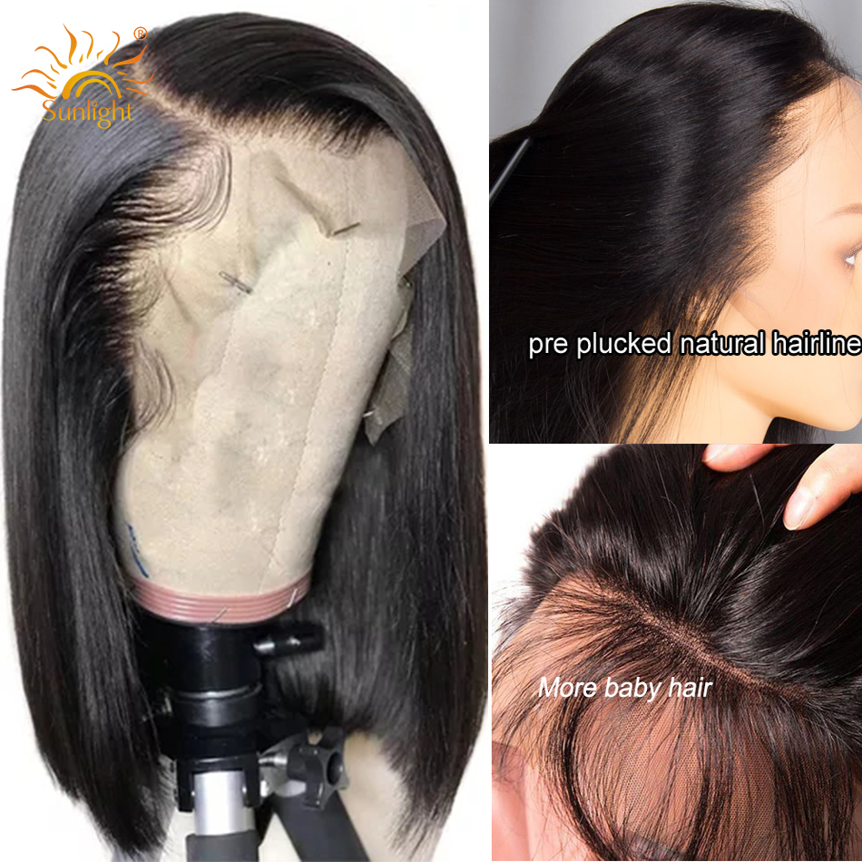 Short Bob Wig Straight Lace Front Human Hair Wigs With Pre Plucked Malaysian Remy Lace Closure