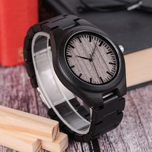 Image 4 - בובו ציפור רטרו אבוני עץ שעונים גברים באיכות גבוהה מותג מעצב זוגות שעון L O08