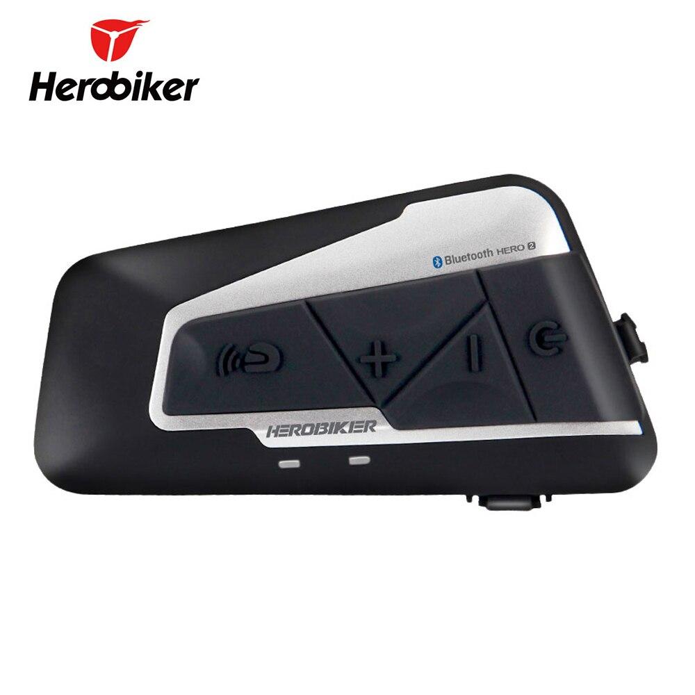 HEROBIKER Casco Del Motociclo Citofono Impermeabile Senza Fili di Bluetooth Moto Auricolare Interphone con Radio FM per 2 Rides 1200 M