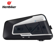 HEROBIKER Motorcycle Helmet Intercom Waterproof Wireless Bluetooth Moto Headset Interphone with FM Radio for 2 Rides