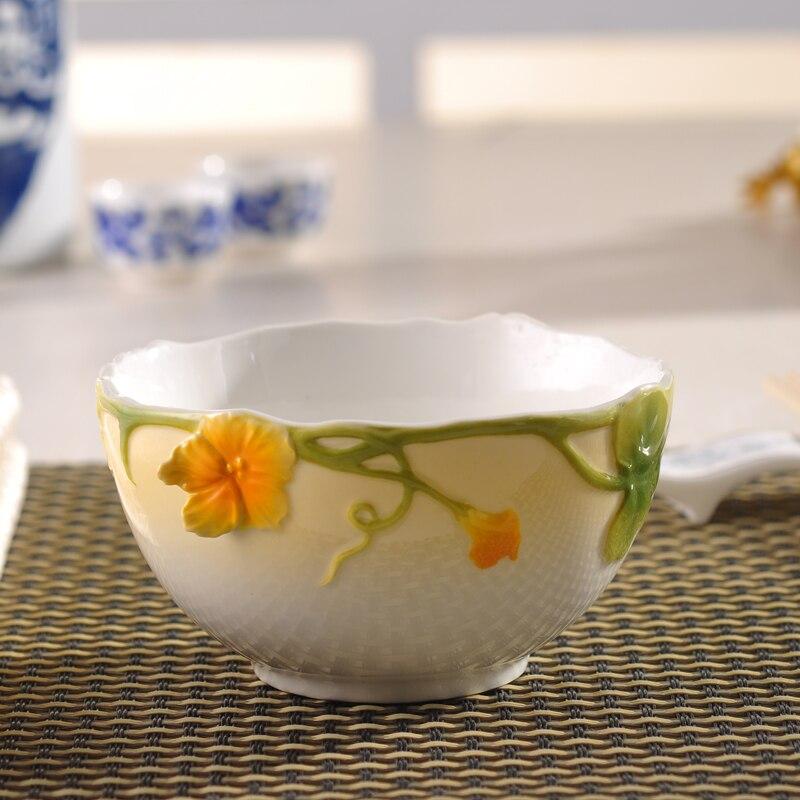 1 개 고급 에나멜 도자기 식기 세라믹 그릇 장식 공예 밥 그릇