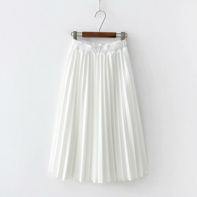 2020 Spring High Waist Pleated Skirt Women Black Causal Midi Skirts Plus Size Elastic Waist 8
