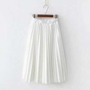 Image 5 - Lizkova ורוד קפלים חצאית נשים בתוספת גודל Midi Jupes 2020 חורף שחור אלסטי מותניים מזדמנים Fladas PYQ011