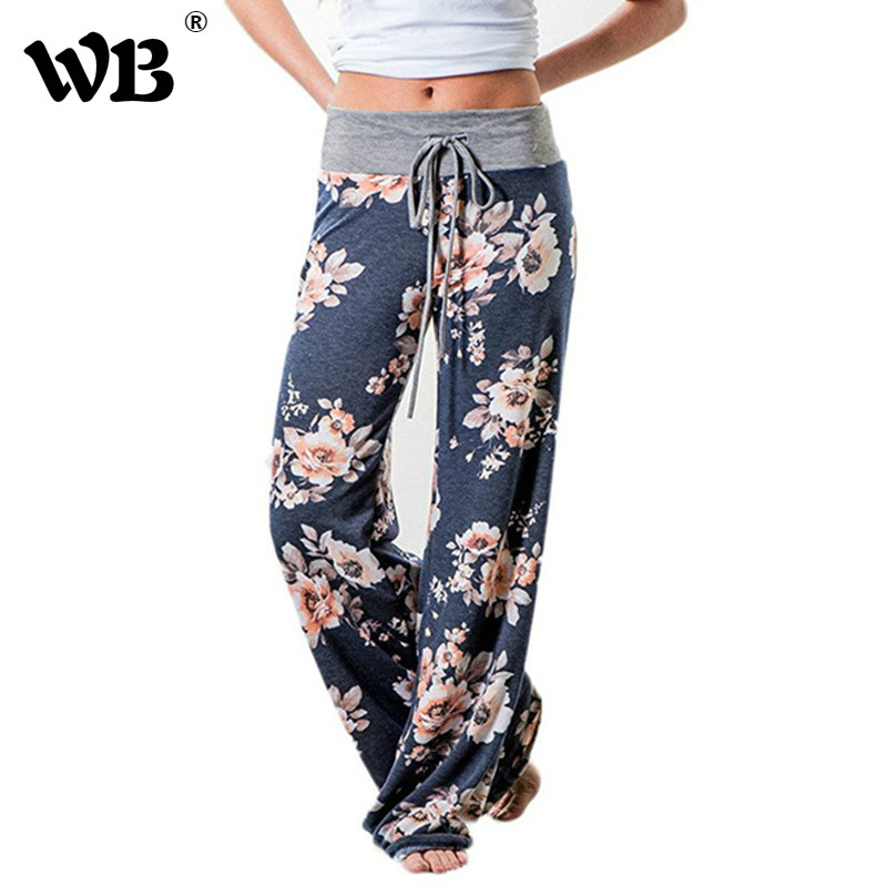 Causal Women Autumn Flower Print   Pants   2018 Drawstring   Wide     Leg     Pants   Loose Straight Trousers Long Female Plus Size Trousers