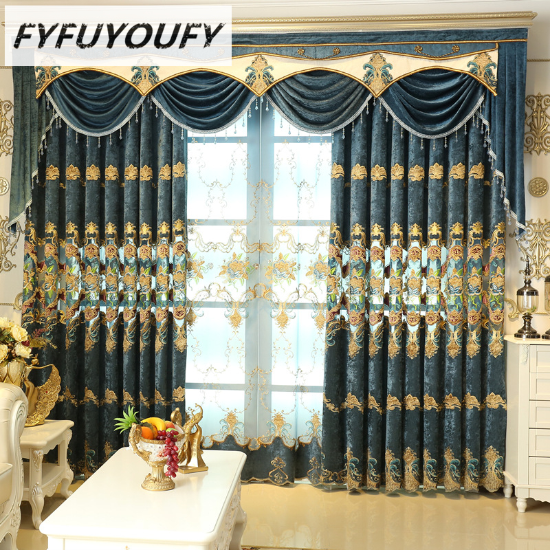 1 Pc Curtain And 1 Pc Tulle Peony Luxury Window Curtains: European Embroidered Shade Curtain And Tulle For Living