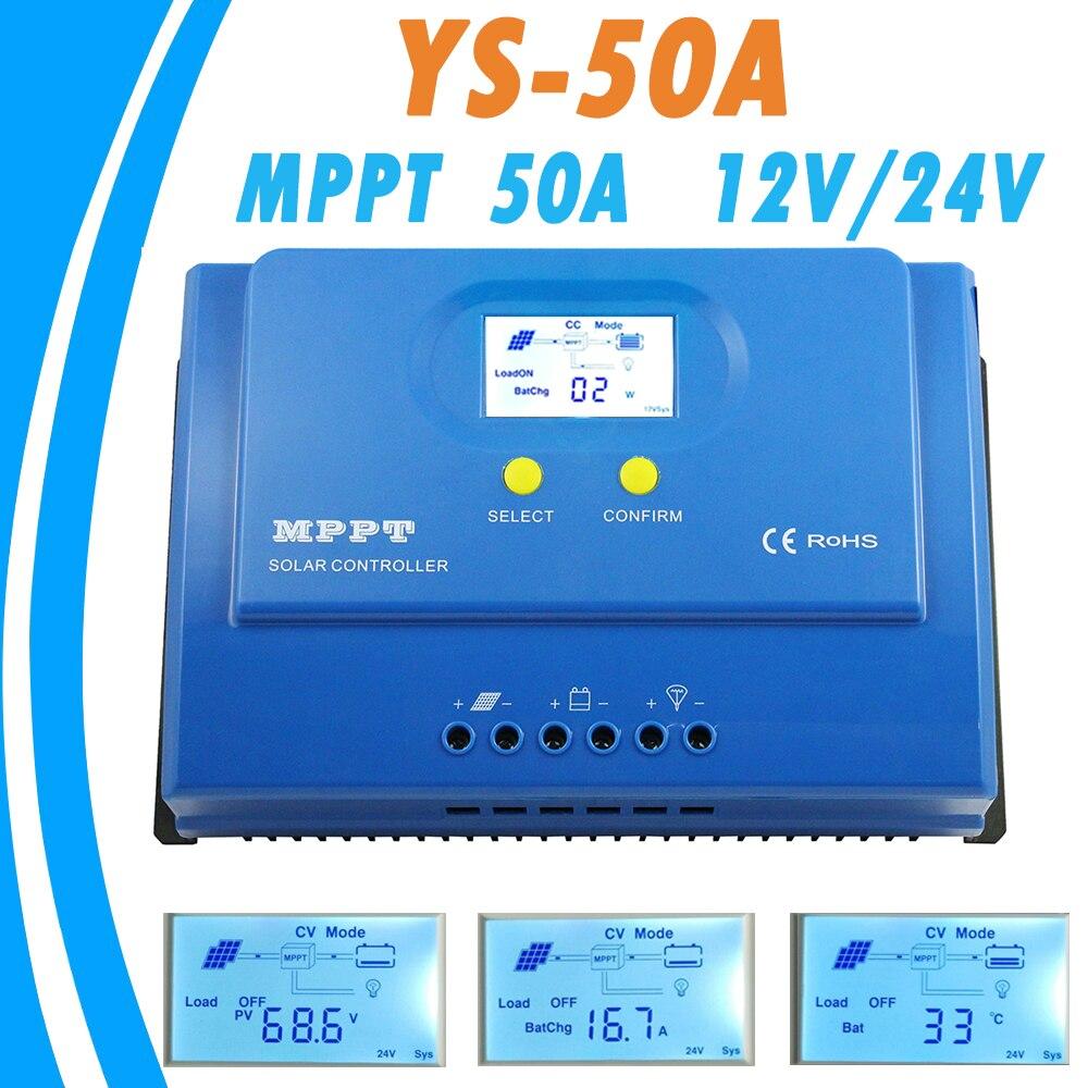 PowMr MPPT 50A солнечный регулятор 12 В 24 В Подсветка ЖК-дисплей Дисплей Панели солнечные контроллер MPPT для Max 150 В Вход двойной 5 В USB Выход