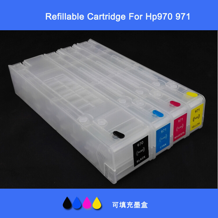 Refillable Ink Cartridge H970 HP971 with permanent chip for Officejet Pro X451dn X451dw X476dn X476dw X551dw X576dw printer hwdid 56xl 57xl ink cartridge compatible for hp 56 57 c6656a c6657a deskjet 450ci 5550 5552 7150 7350 7000 2100 220 printer
