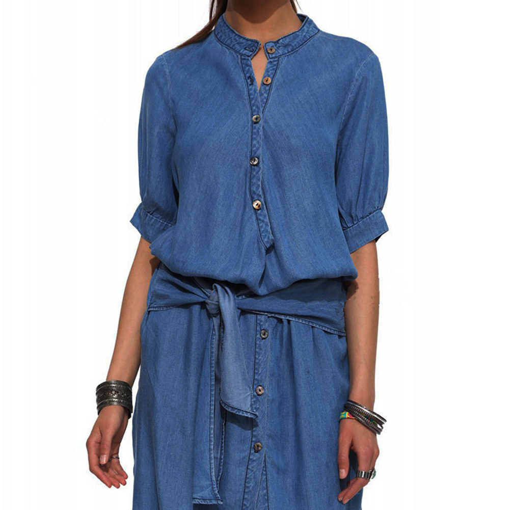 2017 Summer New Arrival Fashion Women Single-breasted Denim Blue Dress Female Vintage Casual Short Sleeves Bandage Jeans Dresses