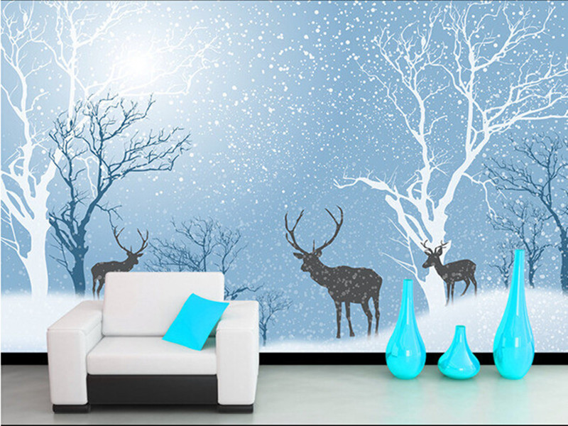 Custom 3D murals,the snow forest deer dreamy artistic conception papel de parede,living room TV wall children bedroom wallpaper custom baby wallpaper snow white and the seven dwarfs bedroom for the children s room mural backdrop stereoscopic 3d