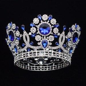 Image 4 - Büyük kristal düğün gelin tacı taç gelin başlığı kadınlar kraliçe balo Diadem saç süsler kafa takı aksesuarları