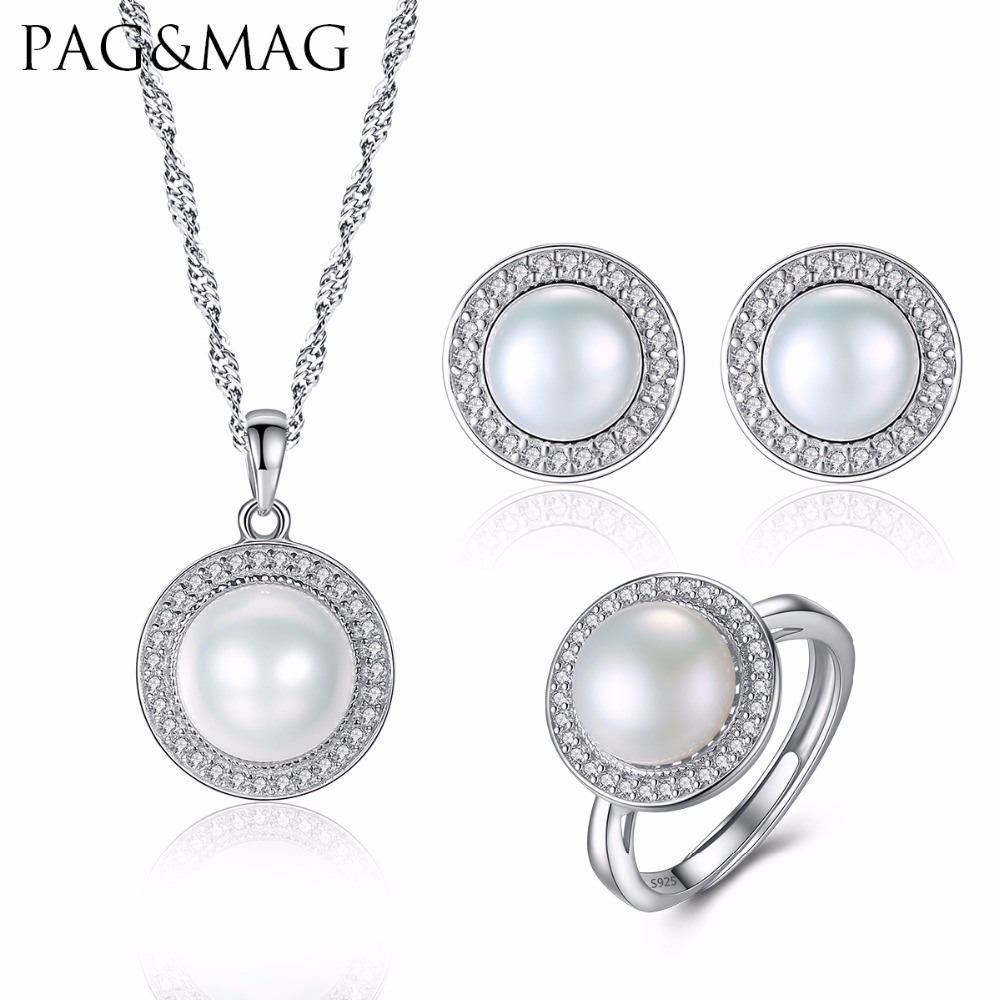 PAG&MAG Brand Classic Women Jewelry Sets Natural Freshwater Half Pearl 925 Sterling Silver Jewelry for Party Factory WholesalePAG&MAG Brand Classic Women Jewelry Sets Natural Freshwater Half Pearl 925 Sterling Silver Jewelry for Party Factory Wholesale