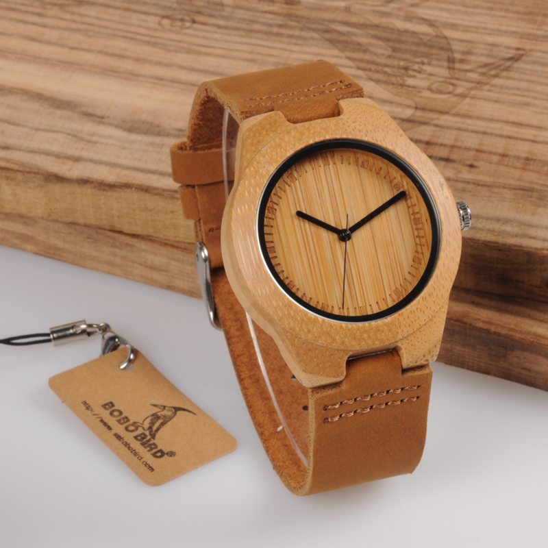 все цены на BOBO BIRD men Watches women Wooden Bamboo Watch ladies Quartz lover's clock with Leather Strap as Gift in wood box custom