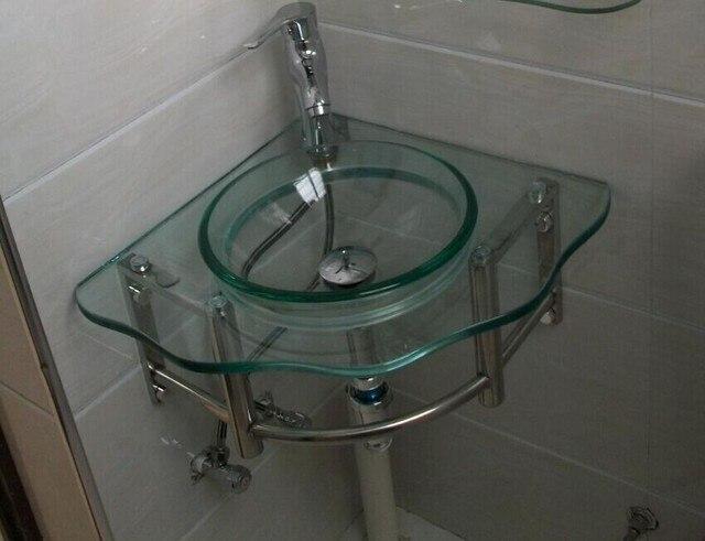 Goedkope hoek glas vanity wastafel wall hung wastafel stalen